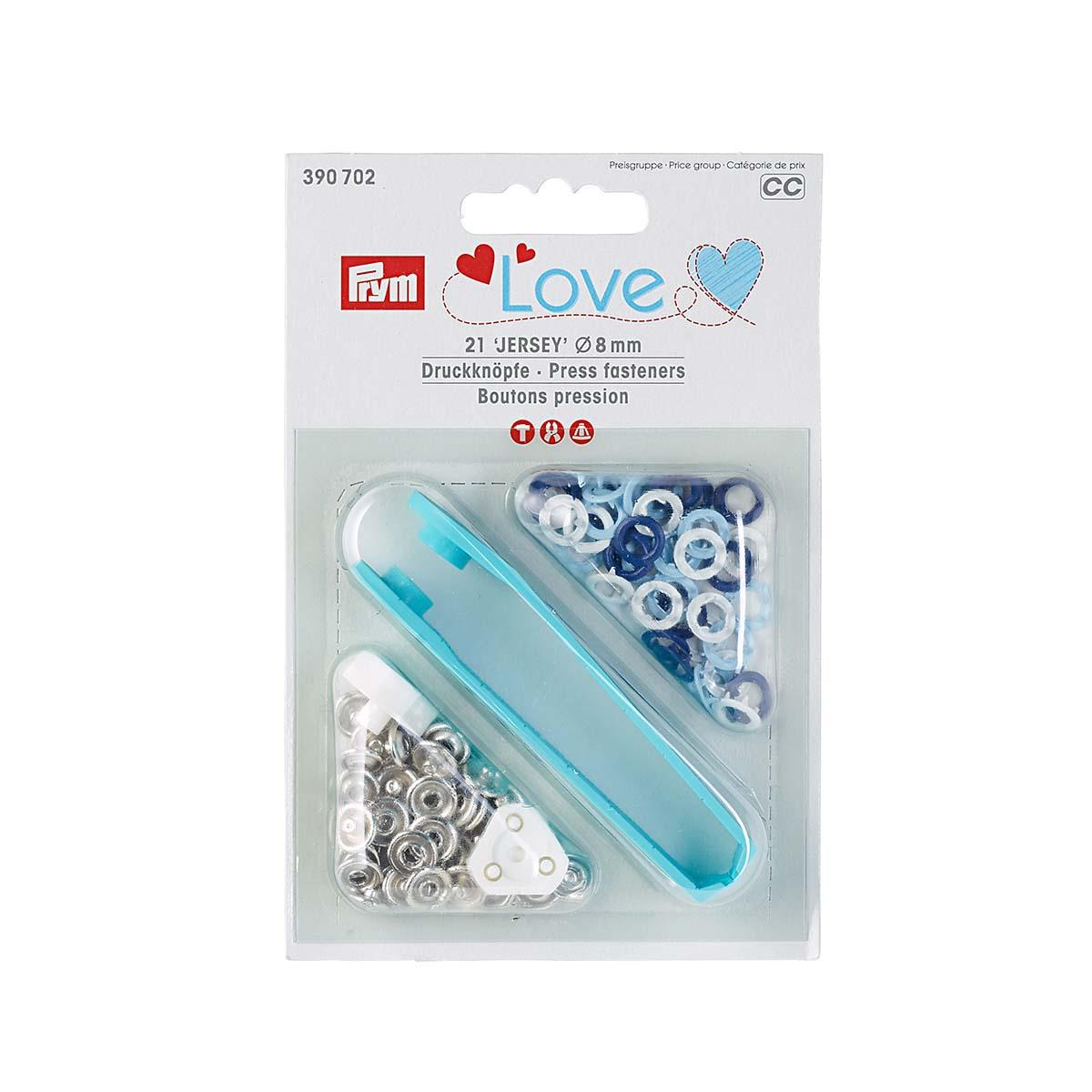 390702 Кнопки Джерси Prym Love син/бел/голубой цв, 8мм, 21шт/упак, Prym