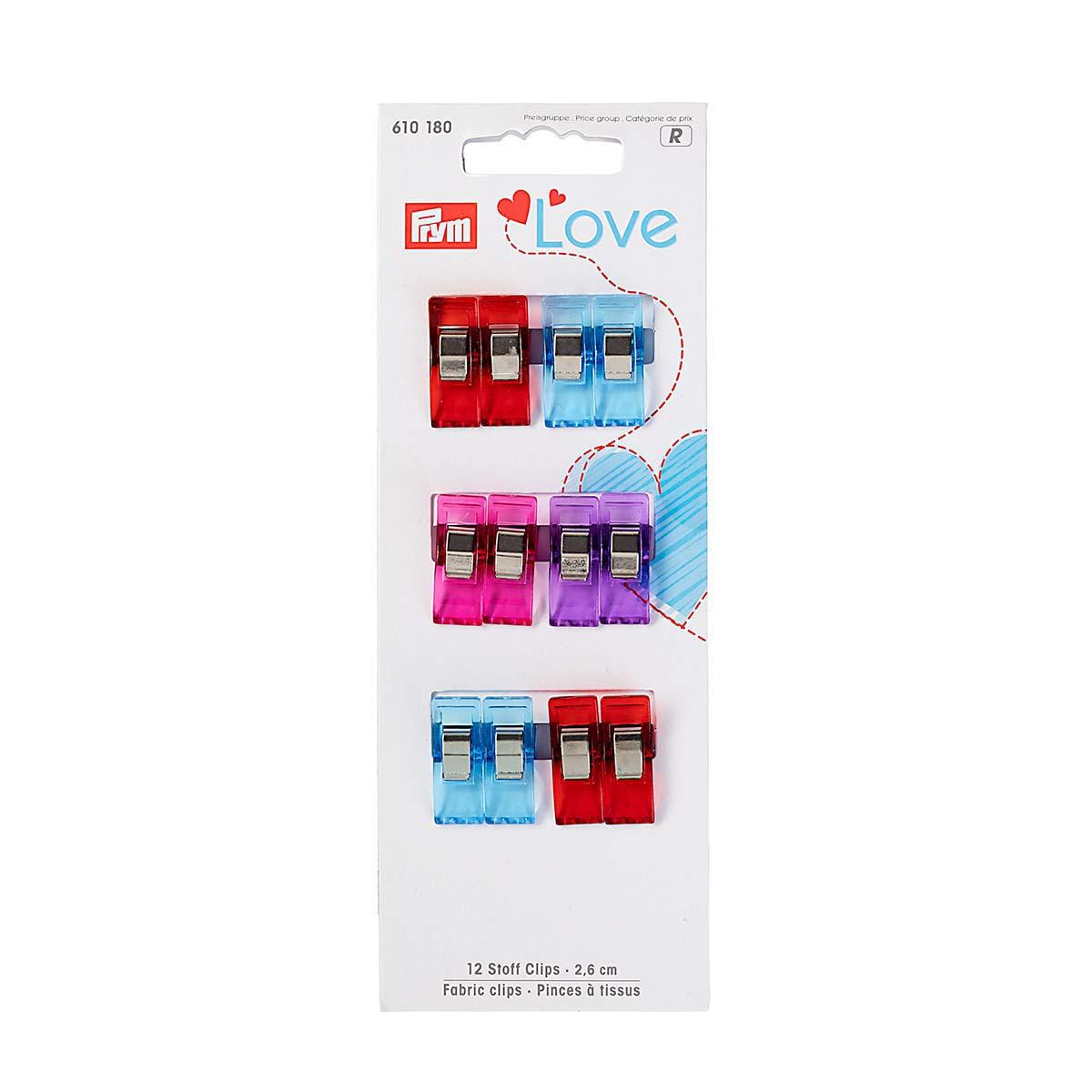 610180 Клипсы для работы с тканями Prym Love 2,6см, 12шт/упак, Prym