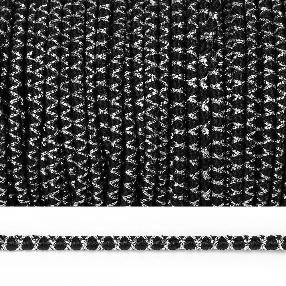 Резинка TBY шляпная (шнур круглый) декоративная арт.DR4-1 2,5мм рул.100м, TBYDR41