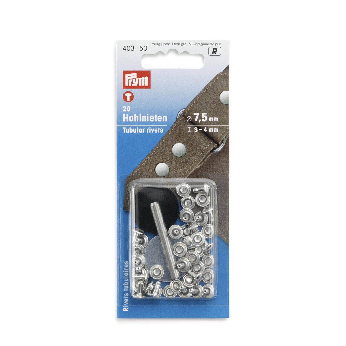 403150 Клепки с отверстием d 7,5 мм, д/толщины материала 3-4 мм, серебристый, упак./20 шт., Prym