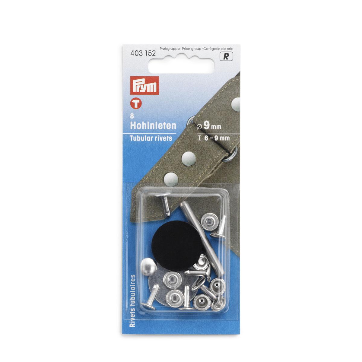 403152 Клепки с отверстием d9 мм, д/толщины материала 6-9 мм, упак./8 шт., Prym