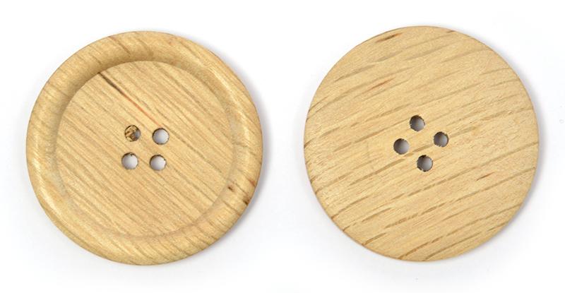 Пуговицы деревянные TBY BT.WD.060 цв.натуральный 54L-34мм, 4 прокола, 20 шт, BTWD0601