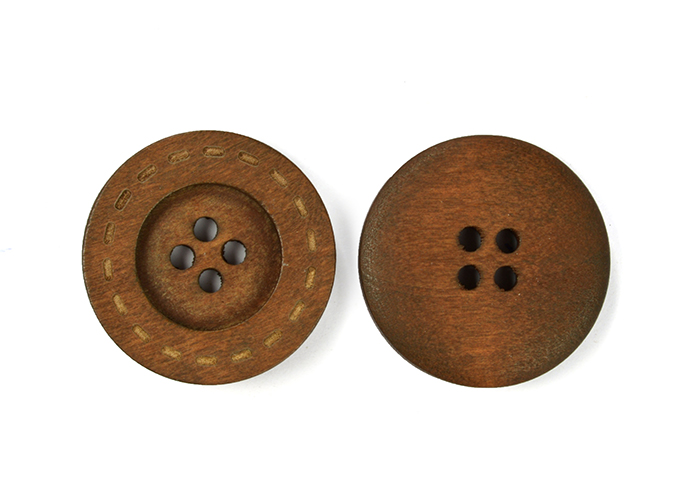 Пуговицы деревянные TBY BT.WD.667 цв.коричневый 40L-25мм, 4 прокола, 20 шт, BTWD667