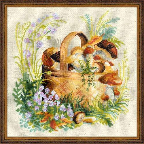 1363 Набор для вышивания Riolis 'Грибное лукошко', 30*30 см