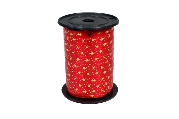 1034606 Лента НГ простая 1/100 с нанесением металла, снежинки РД красная