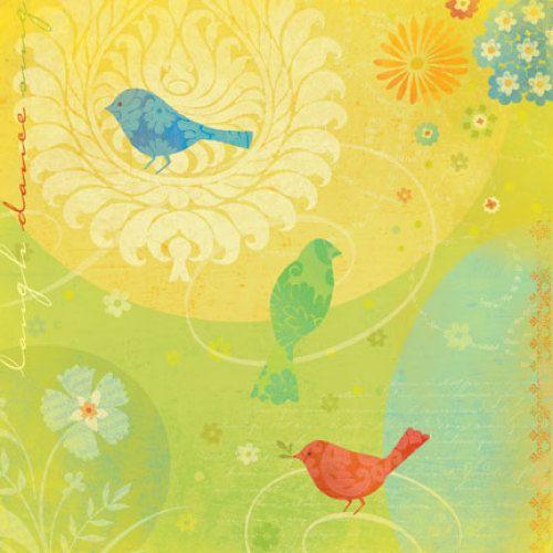 646209-КСО Бумага 'Цветные птицы', 31*31 см, 1 лист