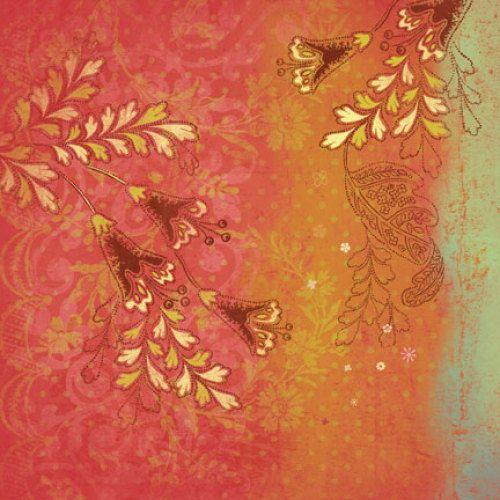 646223-КСО Бумага 'Золотые цветы', 31*31 см, 1 лист