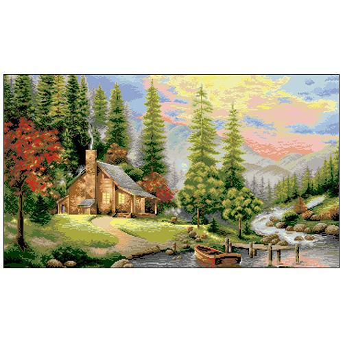П-043 Канва с рисунком 'Гелиос' 'Берег реки', 43,5х72,5 см
