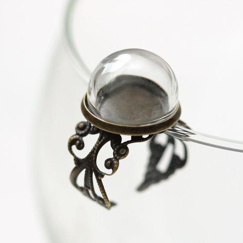 SCB24001006 Набор кольцо со стеклянным украшением, бронза 16мм