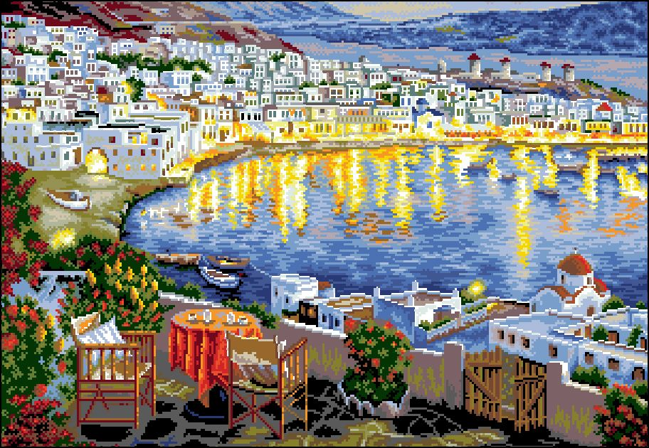 П-045 Канва с рисунком 'Гелиос' 'Вечер на берегу моря', 43,5х61 см