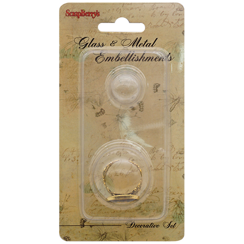SCB24001007 Набор кольцо со стеклянным украшением, золото 16мм