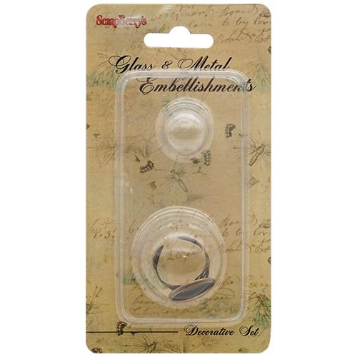SCB24001008 Набор кольцо со стеклянным украшением 'Сердечки', бронза 16мм
