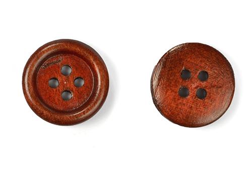 Пуговицы деревянные TBY BT.WD.935 цв.коричневый 28L-18мм, 4 прокола, 20 шт, BTWD935