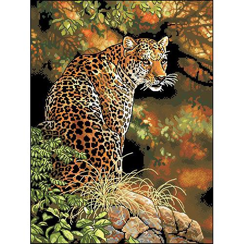 Ф-040 Канва с рисунком 'Гелиос' 'Леопард', 35,5х46,5 см