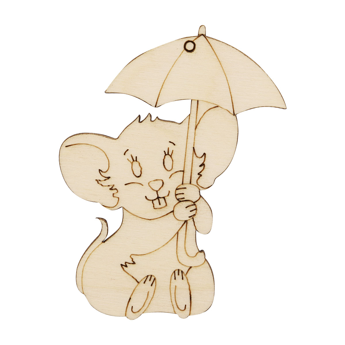 L-1302 Деревянная заготовка Мышка под зонтиком 8,6*6,5*0,3см Астра