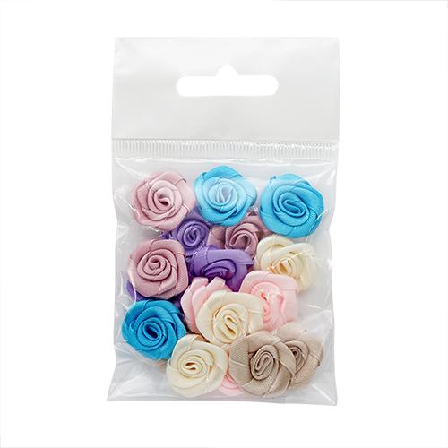 К-9081 Цветочки декоративные из атласной ленты, 1,9см, 18шт, ассорти