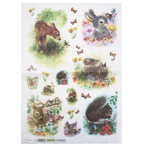 QSIPR159 Декупажная бумага рисовая 'Лесные зверушки', плотность 25 гр./кв.м, 35х50 см, Renkalik