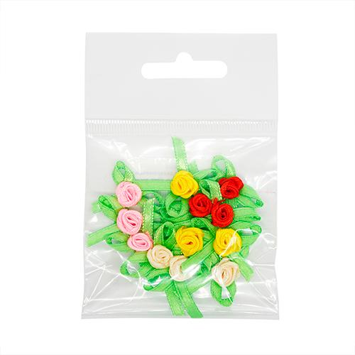 JY100125 Цветочки декоративные из атласной ленты, 2 см, 12шт, ассорти