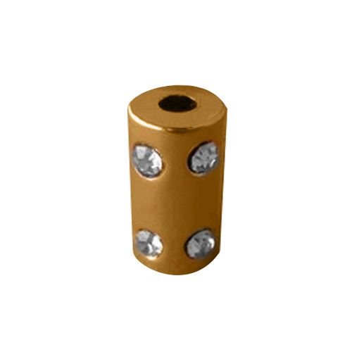 ГФУ6102 Наконечник 'Цилиндр' со стразами d=2,5/4,5мм, 14,5*8мм, металл