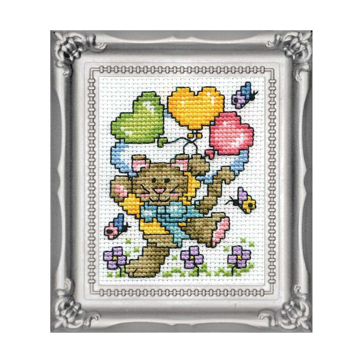 604 DWC Набор для вышивания 'Кот с воздушными шарами' 5х8 см