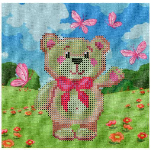 НР-10 Ткань с нанесенным рисунком и схемой для вышивания бисером 'Тедди' 20*20 см