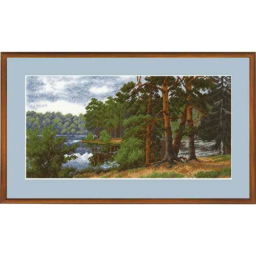 653 Набор для вышивания Hobby&Pro 'Лесное озеро', 32*16 см