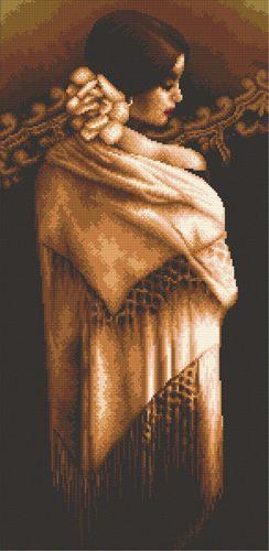 S-076 Набор для вышивания Hobby&Pro 'Девушка с шалью', 27*53 см