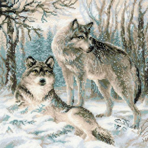 1393 Набор для вышивания Riolis 'Волчья пара', 40*40 см