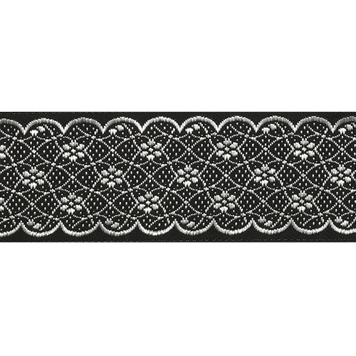 35712 Тесьма отделочная 35мм*10м, черн/серебро