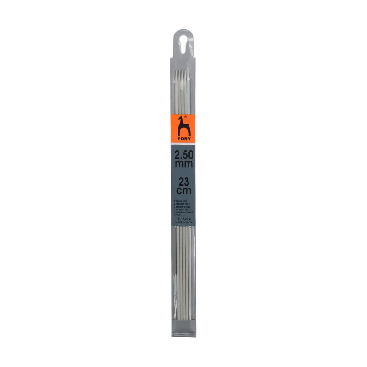 38214 Спицы носочные алюминий 2,5мм*23см PONY