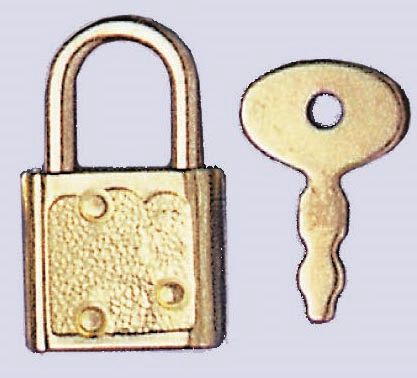 61834102 Миниатюрный замок (метал) с 2 ключиками Glorex