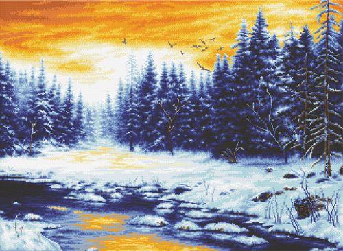 S-079 Набор для вышивания Hobby&Pro 'Зимняя река', 59*44 см