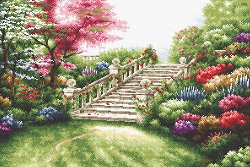 S-080 Набор для вышивания Hobby&Pro 'Лестница в цветах', 54*36 см