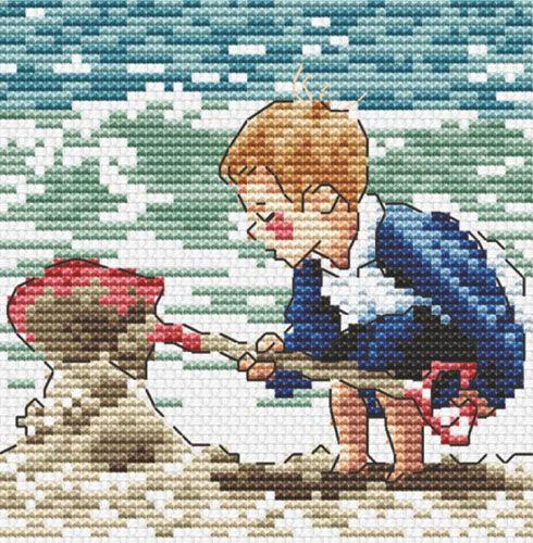 S-081 Набор для вышивания Hobby&Pro 'Пляжные игры', 9*9 см