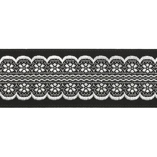 35713 Тесьма отделочная 35мм*10м, черн/серебро