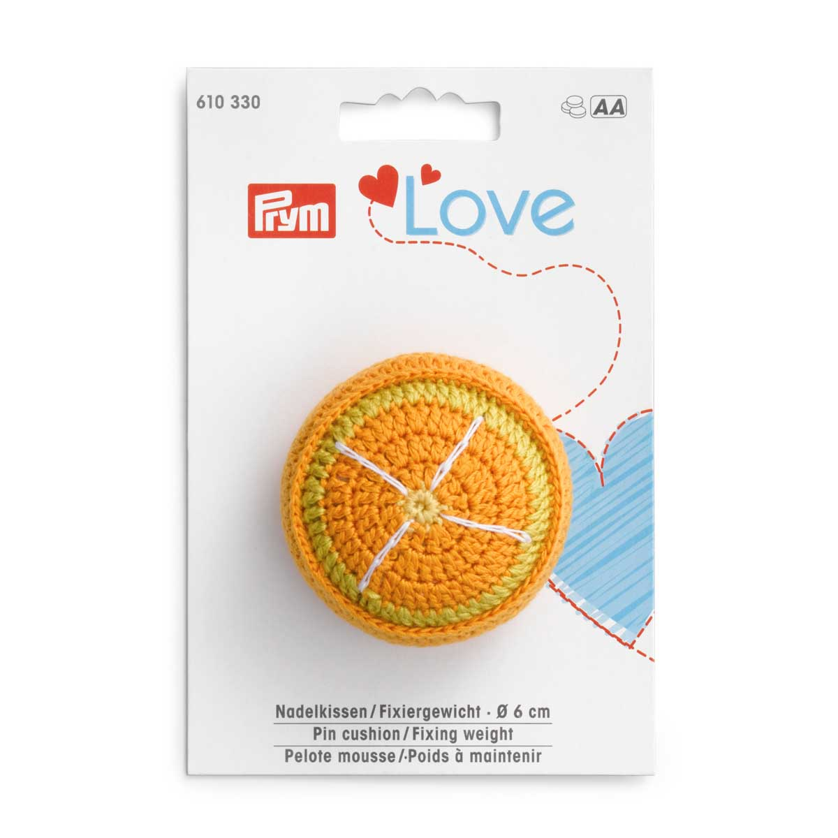 610330 Игольница апельсин Prym Love с фиксирующей гирей, Prym