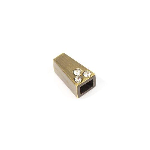 AB3482 Наконечник 'Колокол' со стразами 4-хан., d=2,5/4мм, 11*6,5мм, металл