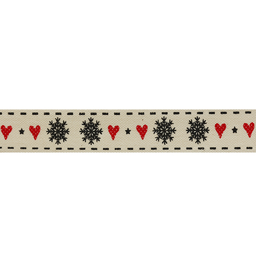 CP1130 Лента декоративная 'Снежинки' 100% хб, 15мм*25м