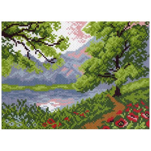 0518-1 Канва с рисунком Матренин посад 'Пейзаж в горах' 28*37см