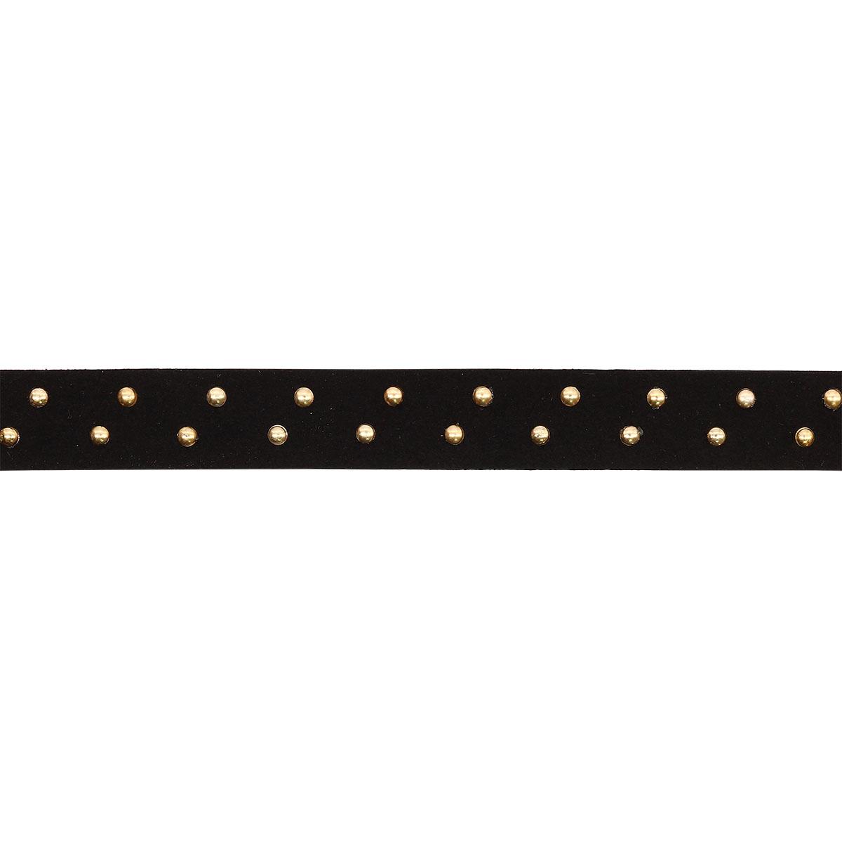 3AR456 Шнур замшевый с металл. клепками 14мм*4м, цв. золото