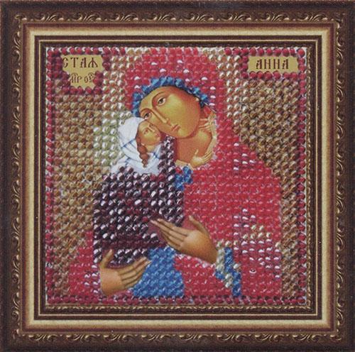 045ПМИ Набор для вышивания бисером 'Вышивальная мозаика' Икона 'Святая Анна', 6,5*6,5 см
