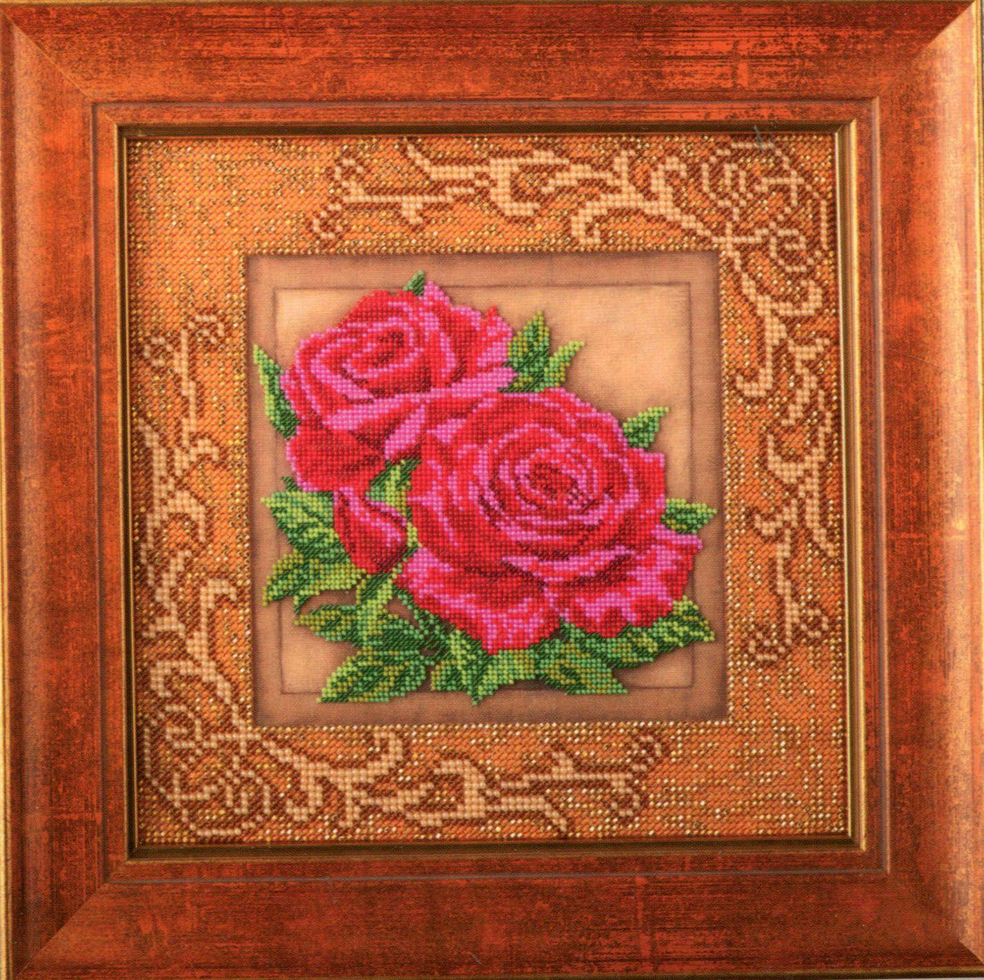 В411 Набор для вышивания бисером 'Кроше' 'Роскошные розы', 20,5x20,5 см