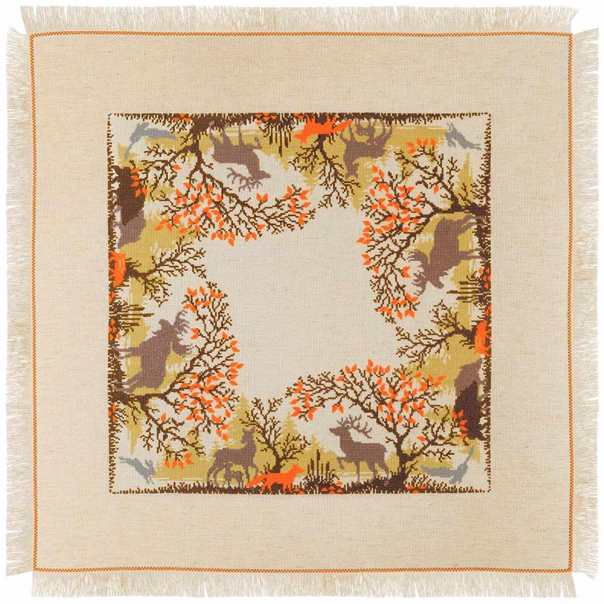 1739 Набор для вышивания Риолис Салфетка 'Лесные животные' 72*72см
