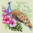 1726 Канва с рисунком Матренин посад 'Павлин в цветах' 41*41см