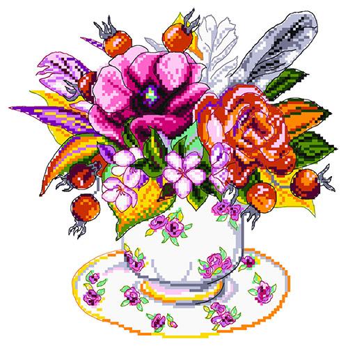 1905 Канва с рисунком Матренин посад 'Шиповник в чашке' 24*35см (28*37см)