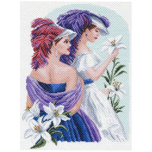 1652 Канва с рисунком Матренин посад 'Девушка с лилиями' 37*49см
