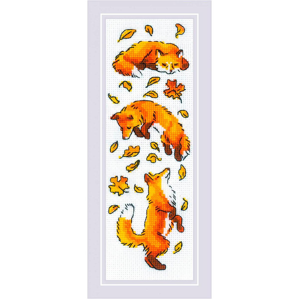1879 Набор для вышивания Риолис 'Лисы в листве' 8*24см