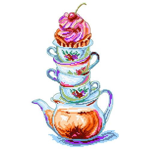 1912 Канва с рисунком Матренин посад 'Время чая' 24*35см (28*37см)