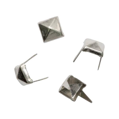 27291 Украшение мини на шипах квадрат 5*5мм уп/24 шт, цв.серебро