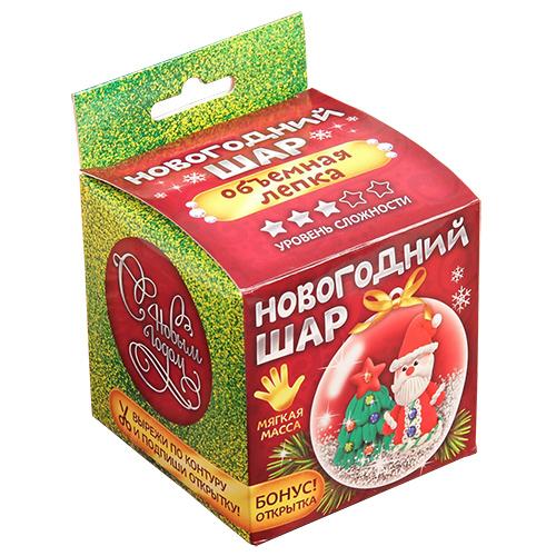 2324312 Набор для создания елочного украшения 'Сказка в шаре' Дед Мороз с массой для лепки